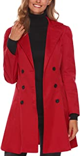 BEAUTYTALK Double-Breasted Suit Women's Casual Long Sleeve Notched Lapel Trenchcoat with Side Pockets