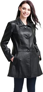 Women's Sarah Lambskin Leather Coat (Regular and Plus Size and Short)