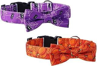 NUOBESTY 2 Stuks Halloween Halsbanden Verstelbare Pompoen Spider Huisdier Kraag Zachte Comfortabele Puppy Kostuum Met Stri...