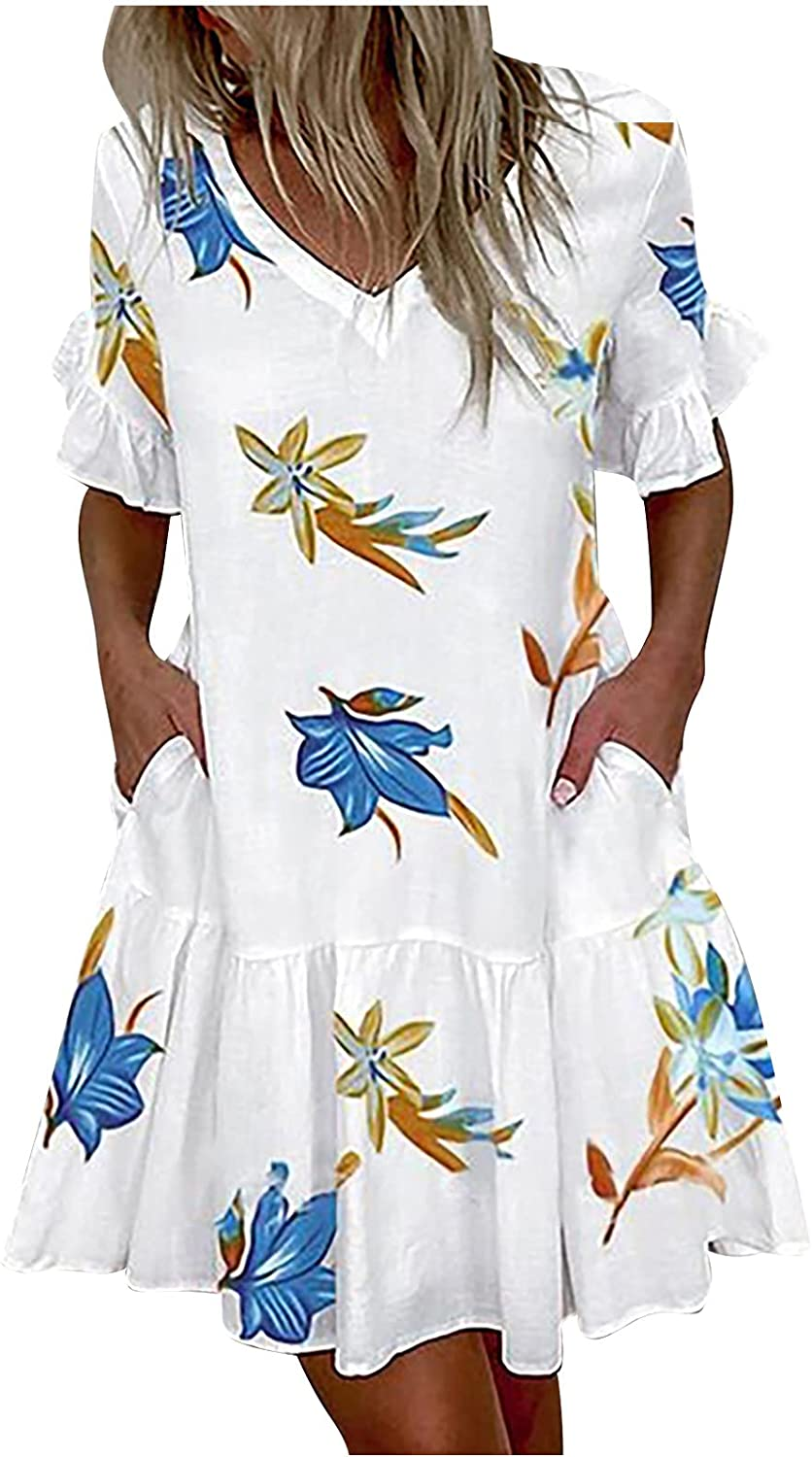 Summer Dress for Women Sexy V-Neck Ruffle Floral Slim Short Sleeve Loose Comfy Casual Beach Party Dress with Pocket
