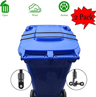 XJunion Trash Can Lid Strap, Bin Strap Garbage Lock, The Easy-Install Solution for Securing Your Outdoor Garbage Can Lid - No More Mess (Black, 2)