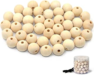 R.FLOWER Natural Wood Beads Round Ball Wooden Loose Beads Unfinished Wood Spacer Beads for Craft-making 100pcs (20mm)
