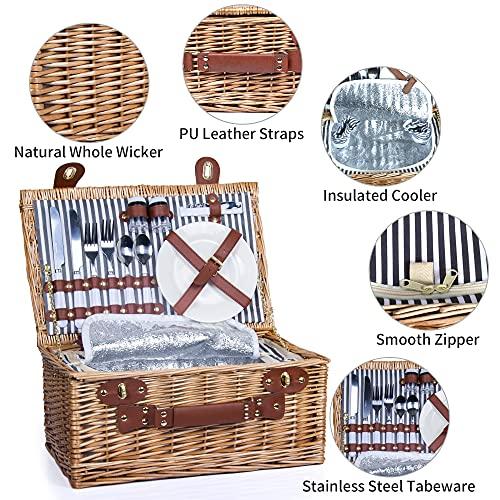 SatisInside New USA Insulated Deluxe 16Pcs Kit Wicker Picnic Basket Set Hamper for 2 People - Reinforced Handle - Grey Stripes