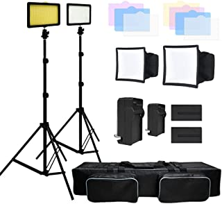 (60% Moving 3X 216 Barndoor Continuous LED Video Lighting kit Dimmable Panel Camera, for Canon, Nikon, Sony, Li-Ion Battery and Charger,Color Filters,Premium Carry Bag, JSAG159