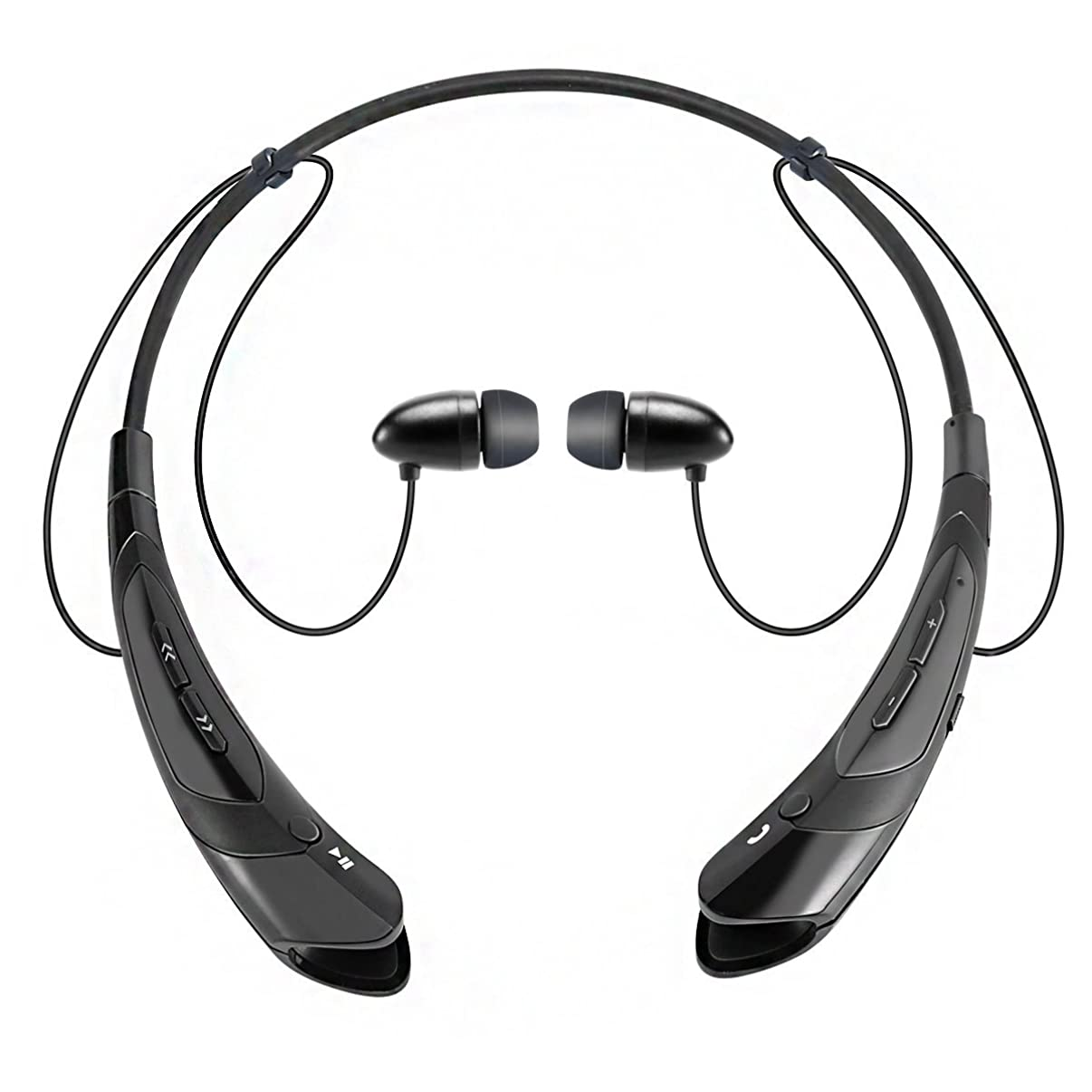 Bluetooth Earphone Headphones,V4.1 Stereo Noise Cancelling Wireless Headset, Sport Neckband Style Magnetic Earbuds with Mic for iPhone Series and Android Phones (Black2)