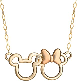 """Disney Mickey and Minnie Mouse 14K Gold Interlocking Ears Pendant Necklace, 15"""" Chain"""