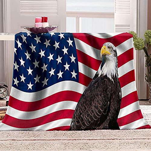 YTHSFQ Kuscheldecke Flanell Fleecedecke amerikanischer Adler Print Mikrofaser Tagesdecke, Super Weiche Warme Sofadecke, Reisedecke für Erwachsene Und Kinder 130x150 cm