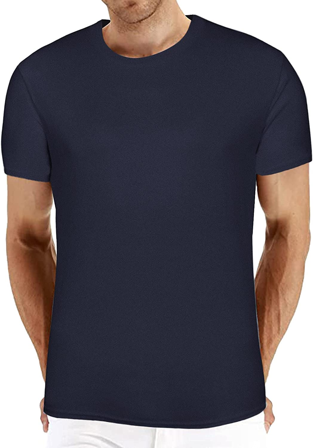 Lovor Men's Basic Short Sleeve T-Shirts Casual Crew Neck Tee Shirt Summer Soft Tops Solid Color Casual Sports T Shirt Blouse