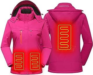 YGCLOTHES Podgrzewane kurtki ulepszone, podgrzewany płaszcz z ładowaniem USB, z 3 ogrzewanymi odpinanymi kapturem i wodood...