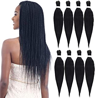 Pre Stretched Braiding Hair Low Temperature Synthetic Fiber Crochet Braids Crochet Easy Braid Hair Extension Twist Braid Hot Water Setting(8 Packs/Lot 26 Inch, 1B)