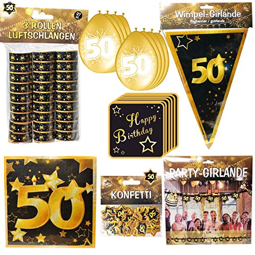 Geschenkeparadies 24 Partyset 78 Teile zum 50. Geburtstag Deko Set Schwarz/Gold Dekoration Ballons Girlanden Wimpel