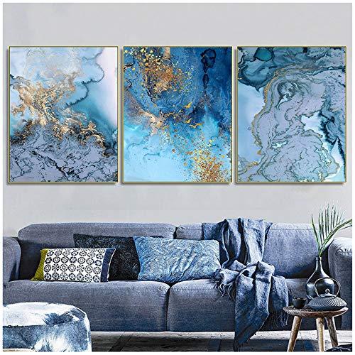 HANSHUIHONG Druck auf Leinwand Abstrakt Aquarell Gold Leinwandbilder Kalligraphie Blaue Kunst Poster und Drucke Wohnzimmer Schlafzimmer Gangdekor Wandbilder -50x70cm Ohne Rahmen
