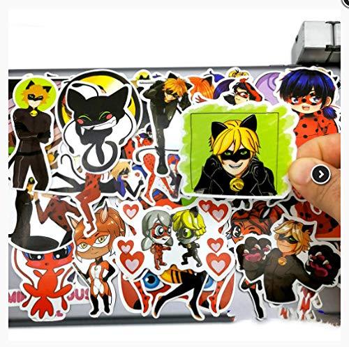 KATTERS Cute Ladybug Girl Cat Noir Anime Stickers Toys For Girls Kids Scrapbook Teléfono móvil Laptop Suitcase Cartoon Decal Sticker 50Pcs