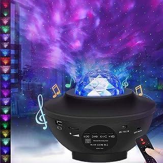 Proyector de Luz Estelar, Proyector de Luz Estrellas Galaxia, Giratorio Lámpara de Nocturna Estrellas y Océano, 21 Modos Proyector LED Color Reproductor de Música, con Bluetooth/Temporizador/Remoto