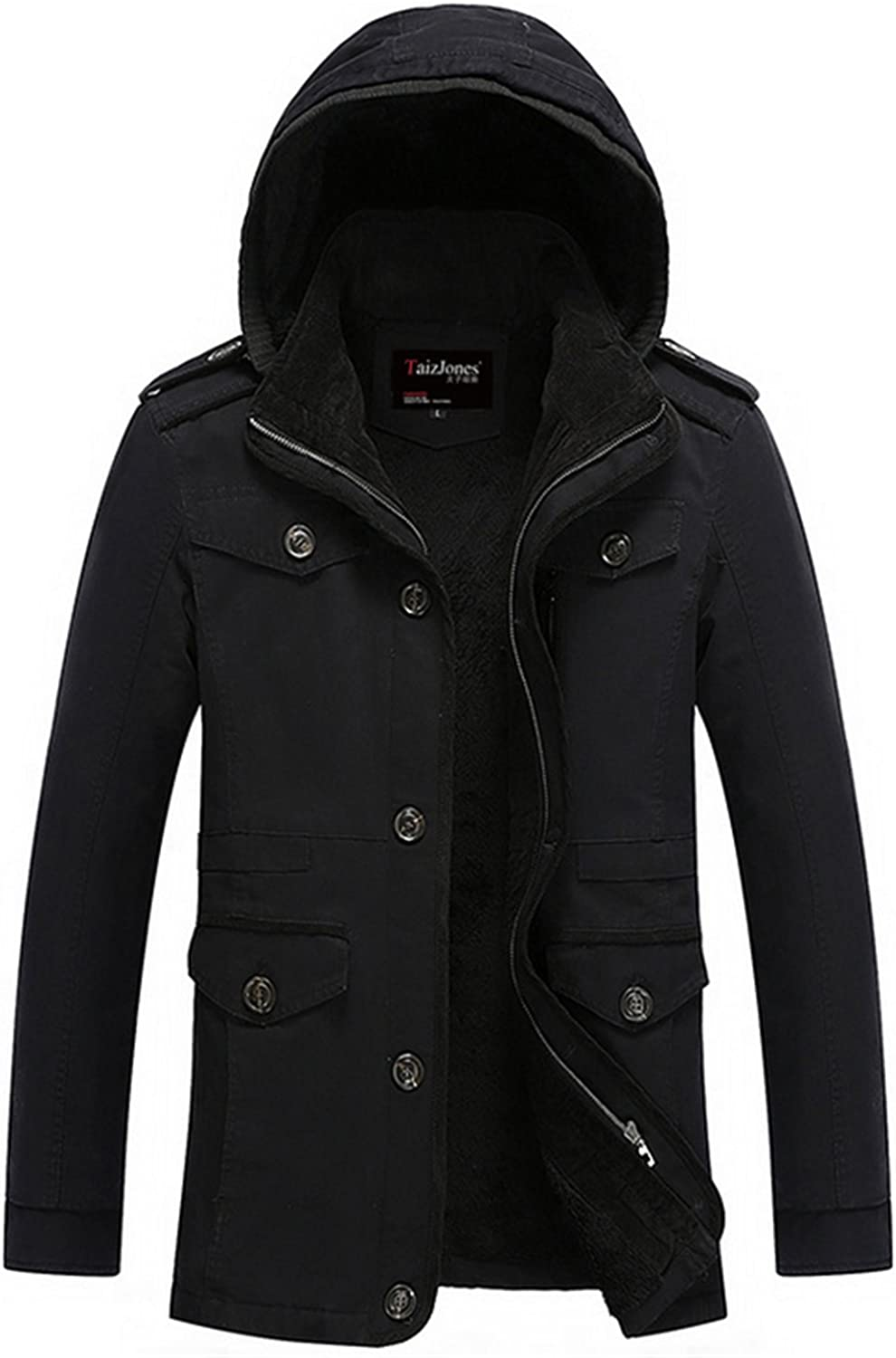K3K Mens Warm Winter Coat Long section Washed Cotton Lambs Wool Lined Military Jacket