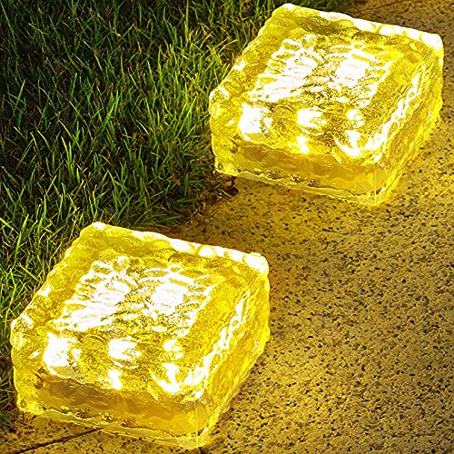 KINKAI Solar Garden Lights 2 Pack Outdoor Decor Solar Ground Lights Waterproof Pathway Brick Lights with 8LED Landscape Lighting for Driveway Walkway Sidewalk Patio Deck Step, Warm White