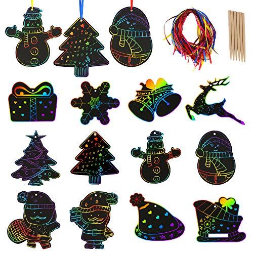 SAVITA 48 Stück Kinder Kratzbilder Basteln Weihnachten Schmierpapier mit 24 Stück Holzstifte und 48 Stück Bänder, Kunstdruckpapier für Kinder Basteln, Weihnachtsanhänger, Weihnachtsbaumschmuck