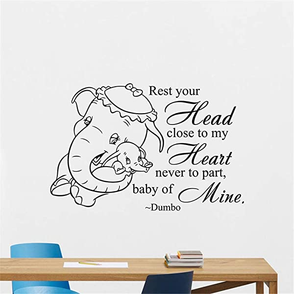 Vinyl Saying Lettering Wall Art Inspirational Sign Wall Quote Decor Dumbo Elephant Quote Nursery Sticker For Baby Bedroom Home Decor Removbale Art For Baby Room