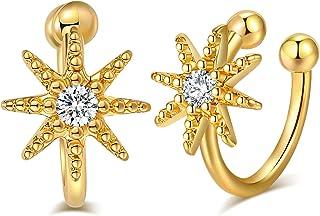 أقراط الغضروف بمشبك للنساء مطلية بالذهب 18 قيراط أقراط زركونيا مكعب لامعة الأذن المستديرة الأكمام أقراط ذهبية للبنات