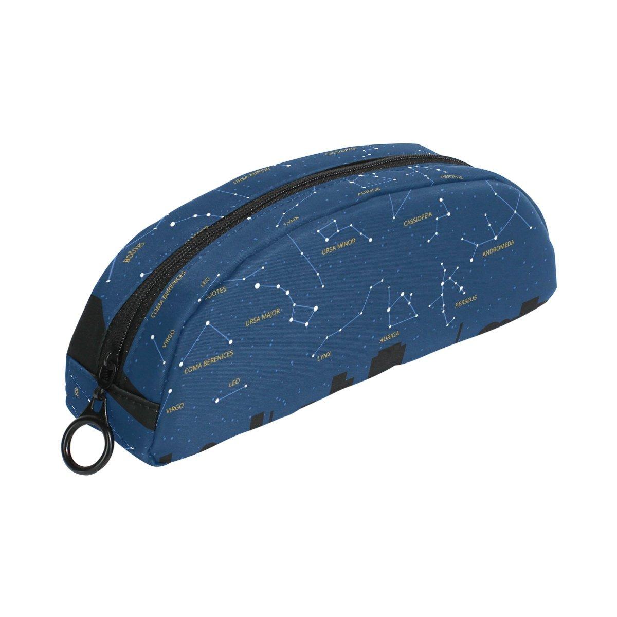 COOSUN - Estuche para lápices con diseño de mapa de cielo con constelaciones del zodiaco, semicircular, bolígrafo, bolso, estuche para maquillaje, neceser para mujer y niña: Amazon.es: Oficina y papelería