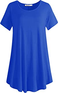 Lock and Love Women Solid Short Sleeve/Sleeveless Tunic for Leggings Swing Tunic Flare Tank Tops S-5XL Plus Size Made in USA