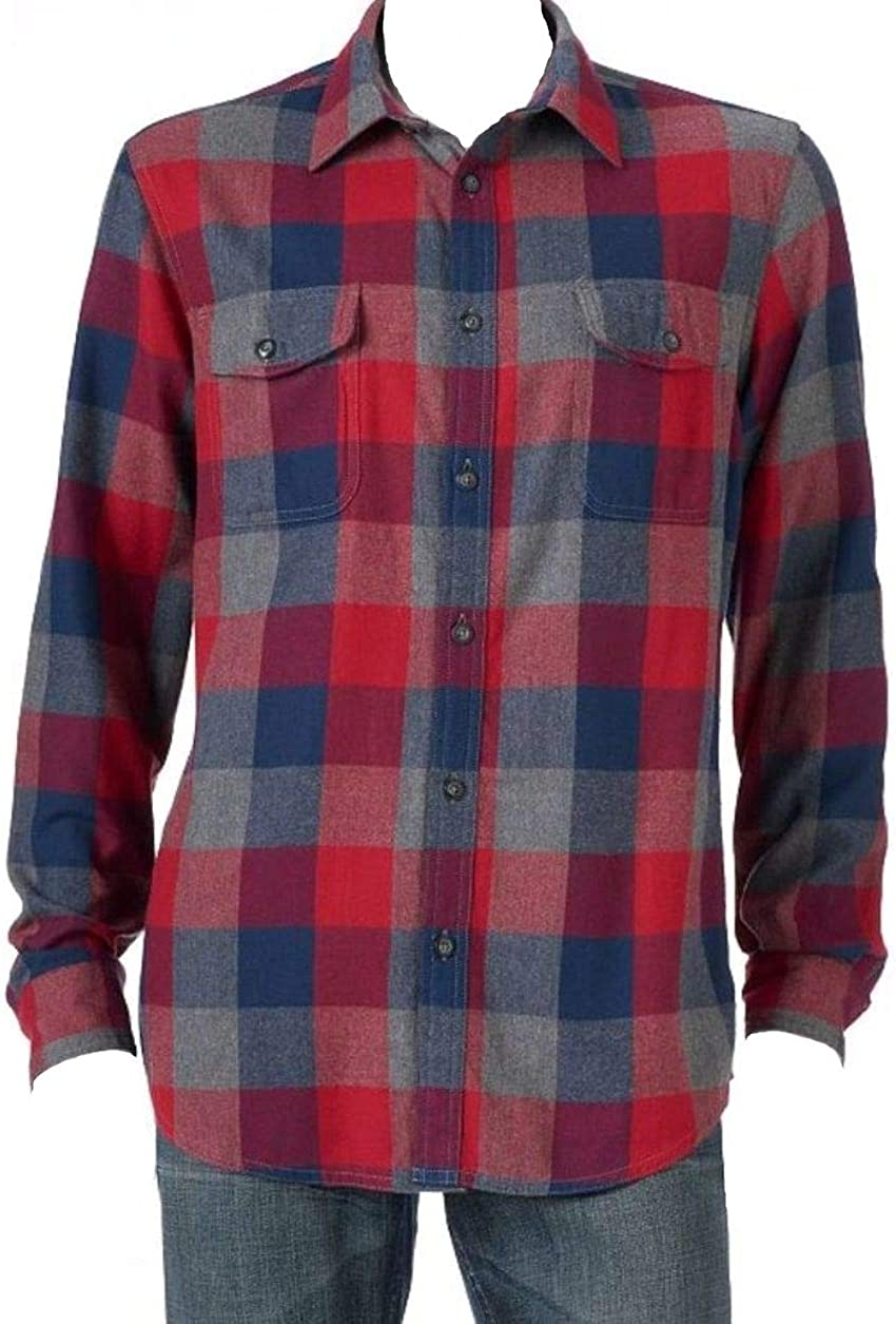 Sonoma Mens Modern Fit Flannel Shirt Red Grey Navy Plaid Check