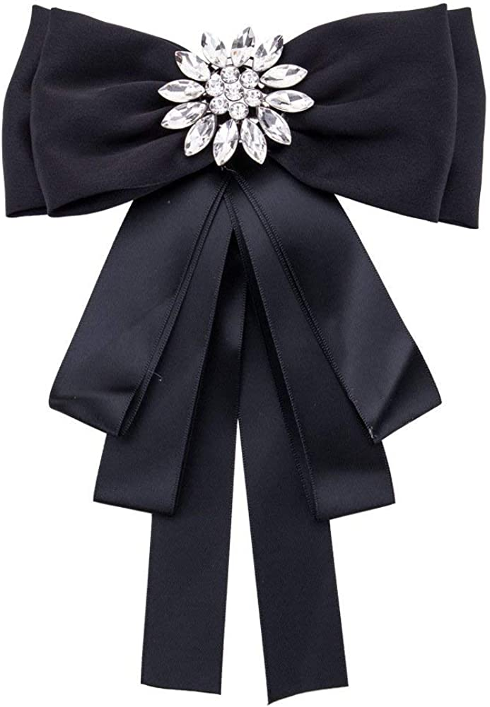 Sunvy Fashion Brooches Pin Bow Tie Crystal Dangle Formal Wedding Party EH7921