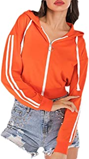 Macondoo Womens Long Sleeve Hoodie Fall Striped Zip Up Crop Jacket Sweatshirts