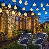Nurkoo 2 Stück LED Solar Lichterkette Aussen mit LED Kugel 6.5M 30 LEDs 8 Modi IP65 Wasserdicht Lichterkette mit Lichtsensor, Kristallbälle Beleuchtung für Garten Terrasse Hof Haus Party