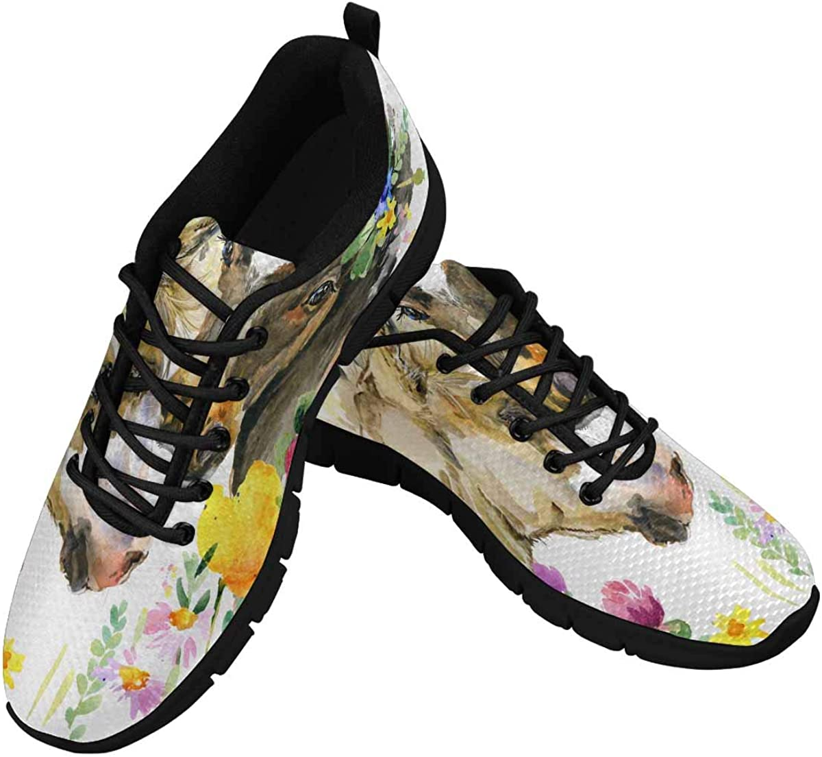 INTERESTPRINT Watercolor Florals Horse Women's Breathable Comfort Mesh Fashion Sneakers