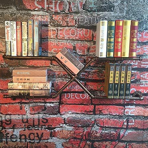 Rek muur planken wandsieraad Do The Old rek smeedijzeren boekenplank-wand-ophangsysteem tentoonstellingstaander (kleur: metallic) metallic