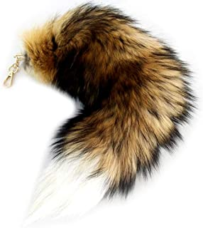 17'' Real Fox Tail Keychain Fluffy Fur Tail Cosplay Fox Costume for Kids