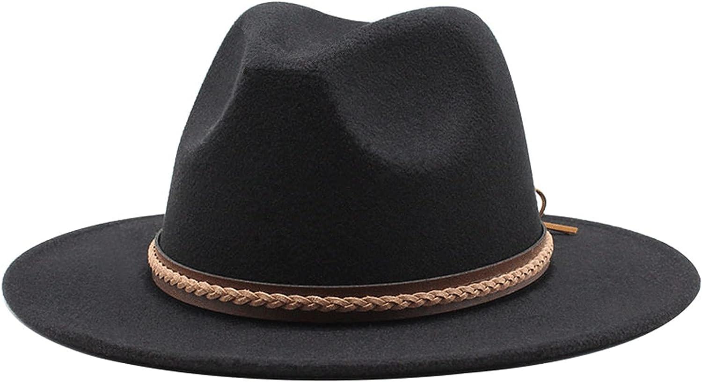 Gossifan Women's Classic Wide Brim Fedora Felt Hat with Belt Buckle