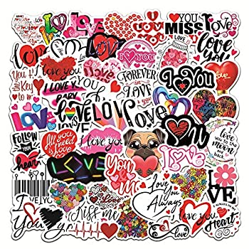 Love Stickers 100 Pcs I Love You Heart Graffiti Stickers Valentine Lovely Cartoon Stickers Waterproof Vinyl Decals for Scrapbook Laptop Luggage Skateboard Motorcycle Notebook Hand Account Decoration