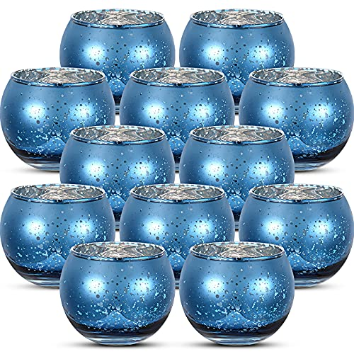 12 Pieces Round Votive Candle Holders Glass Tealight Candle Holder for Wedding Home Decor (Navy Blue)