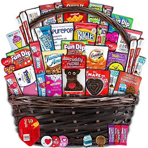 Valentine's Day Gift Basket (40ct) - Snacks, Chocolates, Candy - Wrapped Assortment Variety Bundle...