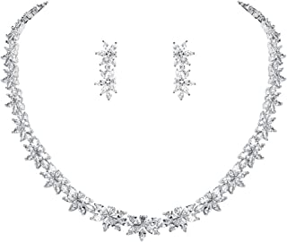 WeimanJewelry Floral Cubic Zirconia Bridal Necklace and Earring Jewelry Set in Rhodium Silver Plated