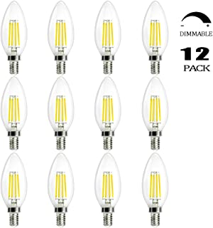 Edison Filament Bulbs E12 Base, C35 Candelabra Bulbs 60W Equivalent Dimmable, B11 Chandelier Bulbs Daylight White 5000K, Ceiling Fan Vintage E12 Bulbs CRI90 110V to 130V, 12-Pack, Egreat