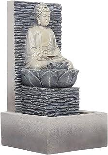 Weiyiroty Fontaine Bouddha Fontaine à Eau D'Interieur en Résine avec Lumière Colorée LED et Pompe à Eau pour Maison Bureau...