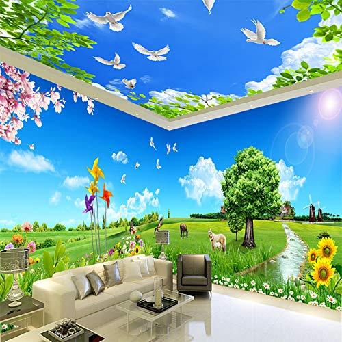 Wandpapier behang vlies blauwe hemel, White Cloud, plafond vloer, Fresko Thema, slaapkamer, woonkamer, kantoor, landschap, voorbeeld, landschapsdecoratie 250×175cm 250 × 175 cm.
