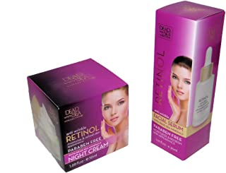 Anti Wrinkle Retinol Facial Serum and a Night Cream - with Dead Sea Minerals, Paraben FREE