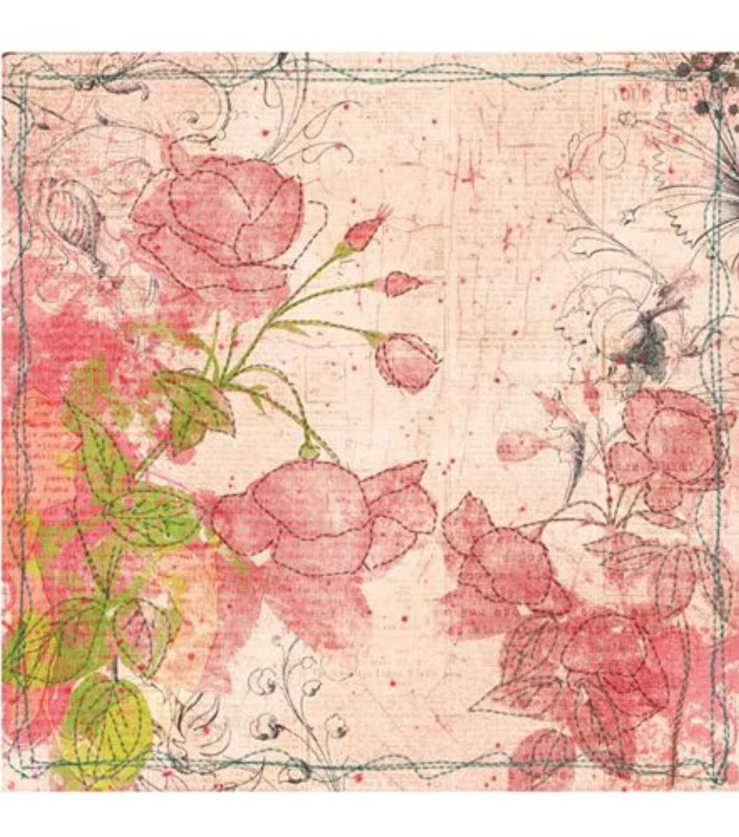 PRIMA FLOWERS Art-Stitched Mulberry Paper 12-Inch by 12-Inch, Full Bloom