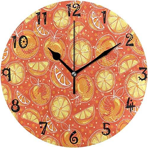 XXNZZJ Co.,ltd Art Fruit Apple Orange Placa Circular Relojes silenciosos para Cocina Hogar Oficina Decoración Escolar