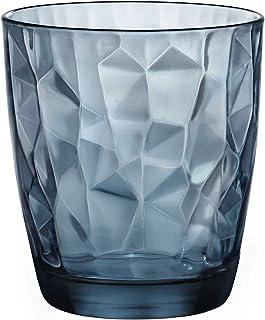 Bormioli Rocco 302259 Diamond Ocean Blue Whiskyglas, 390 ml, Glas, blau, 6 Stück
