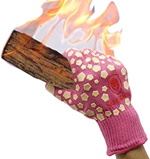 Charmyth Extreme Heat Resistant Gloves for Cooking & Grilling BBQ Gloves for Women Withstand 932℉ Oven Gloves Heat Resistant-1 Pair Pink