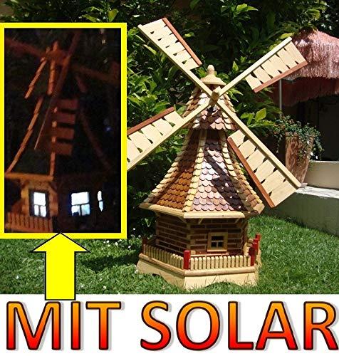 BTV Batovi XL Windmühle, windmühlen Garten, mit Holz Schindeldach,MIT PREMIUM-2X-SOLARBELEUCHTUNG als Windmühlen-Zubehör,WMS100he-MS 1 m groß Hellbraun braun