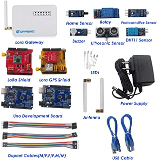 Dragino 915MHZ LoRa IoT Development Kit LG01-P LoRa Gateway WiFi LAN LoRa Shield LoRa GPS Shield with Power Supply Adapter for Home Automation Security System Monitoring Control