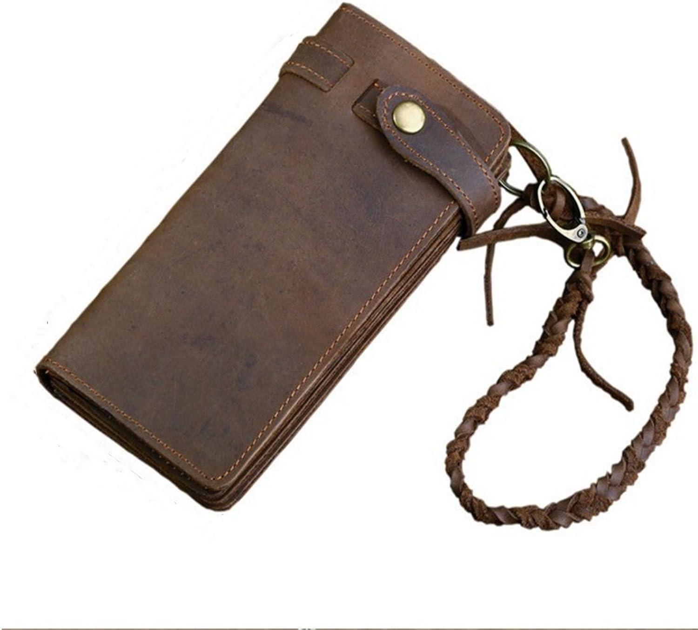 da4c28bb53a250 ... Herren Leder Geldbörse Lange Clutch Vintage Geldbörse Crazy  Horse Tasche Braun Vintage Geldbeutel Münzfach Wallet B07H1DSMWQ 50b89d