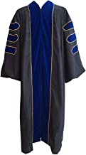 Grad Days Doctoral Graduation Gown Unisex Deluxe Royal Blue Velvet Gold Piping