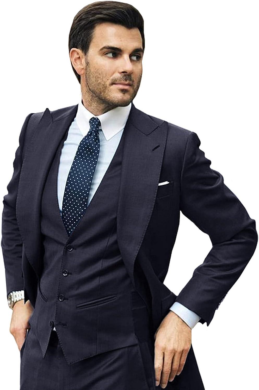 Men's 3-Piece Long Wedding Groom Tuxedos Lapel One Button Blazer + Pants + Vest